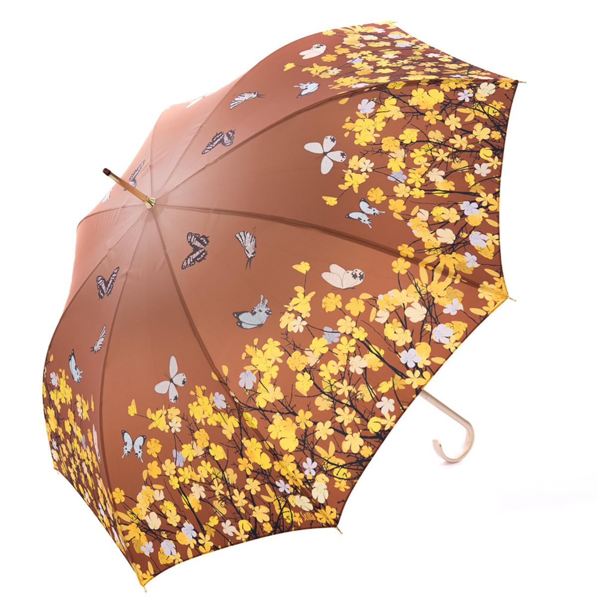 Зонт-трость женский Stilla, цвет: коричневый, желтый. 741/1 auto45100948B/32793/5900NЗонт-трость Stilla надежно защитит вас от дождя. Купол, оформленный оригинальным принтом, выполнен из высококачественного ПВХ, который не пропускает воду.Каркас зонта и спицы выполнены из высококарбонистой стали. Зонт имеет автоматический тип сложения: открывается и закрывается при нажатии на кнопку. Удобная ручка выполнена из пластика.