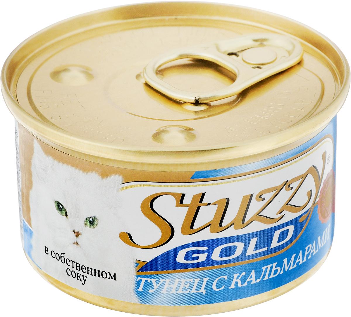 Консервы для взрослых кошек Stuzzy Gold, тунец с кальмарами в собственном соку, 85 г132.C400Консервы для кошек Stuzzy Gold - это дополнительный рацион для взрослых кошек. Корм обогащен таурином и витамином Е для поддержания правильной работы сердца и иммунной системы. Инулин обеспечивает всасывание питательных веществ, а биотин способствуют великолепному внешнему виду кожи и шерсти. Корм приготовлен на пару, не содержит красителей и консервантов. Состав: субпродукты морепродуктов: тунец 59,4%, кальмары 4,7%, креветки 2,4%, рис 1,5%. Питательная ценность: белок 14%, жир 2%, клетчатка 0,2%, зола 2,5%, влажность 79,2%. Питательные добавки (на кг): витамин А 1325 МЕ, витамин D3 110 МЕ, витамин Е 15 мг, таурин 160 мг. Товар сертифицирован.