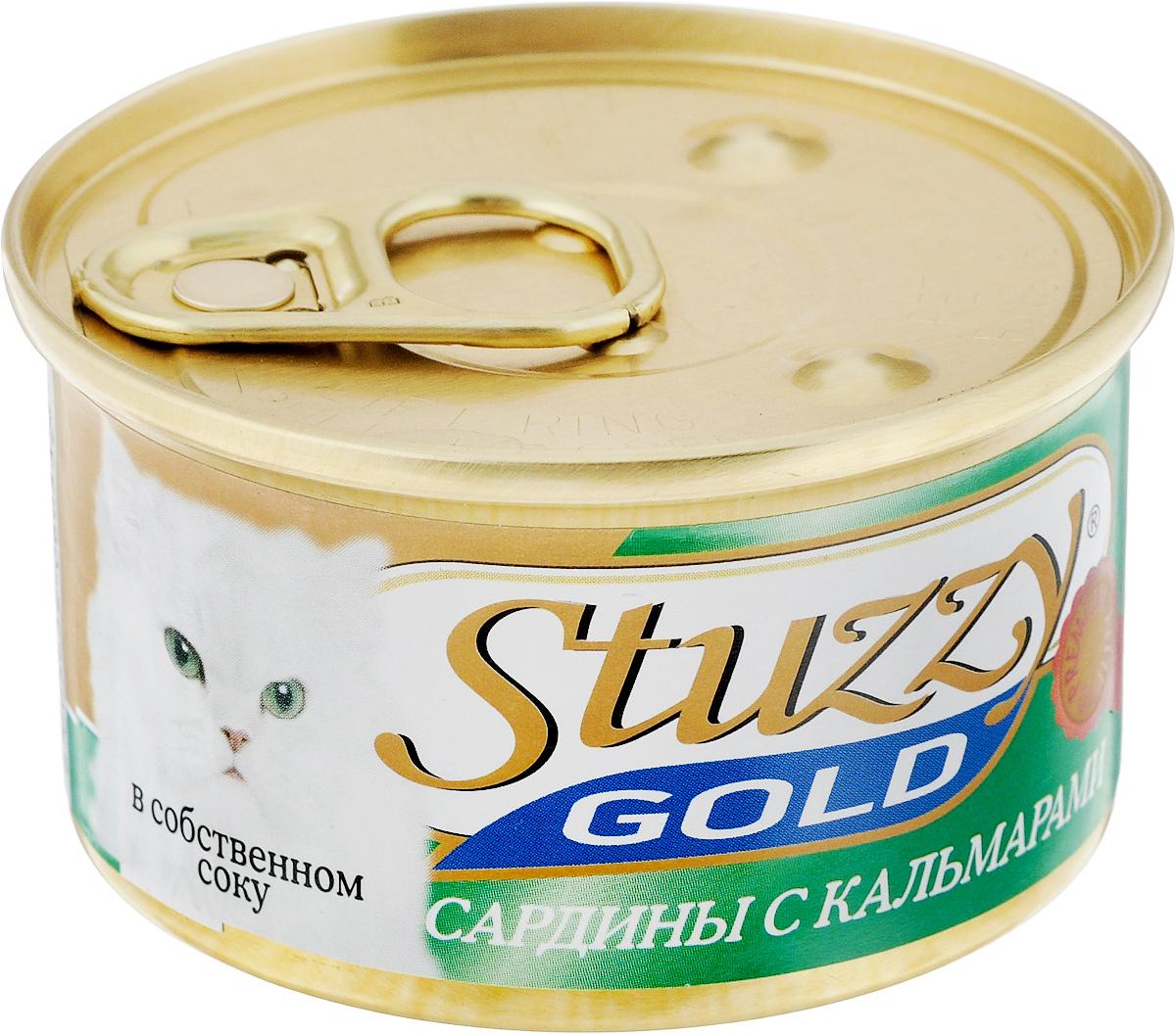 Консервы для взрослых кошек Stuzzy Gold, сардины с кальмарами в собственном соку, 85 г0120710Консервы для кошек Stuzzy Gold - это дополнительный рацион для взрослых кошек. Корм обогащен таурином и витамином Е для поддержания правильной работы сердца и иммунной системы. Инулин обеспечивает всасывание питательных веществ, а биотин способствуют великолепному внешнему виду кожи и шерсти. Корм приготовлен на пару, не содержит красителей и консервантов. Состав: субпродукты морепродуктов: сардины 57,6%, кальмары 4,7%, креветки 2,4%, мидии 0,9%.Питательная ценность: белок 11,2%, жир 2,8%, клетчатка 0,1%, зола 2,6%, влажность 82%.Питательные добавки (на кг): витамин А 1325 МЕ, витамин D3 110 МЕ, витамин Е 15 мг,таурин 160 мг.Товар сертифицирован.