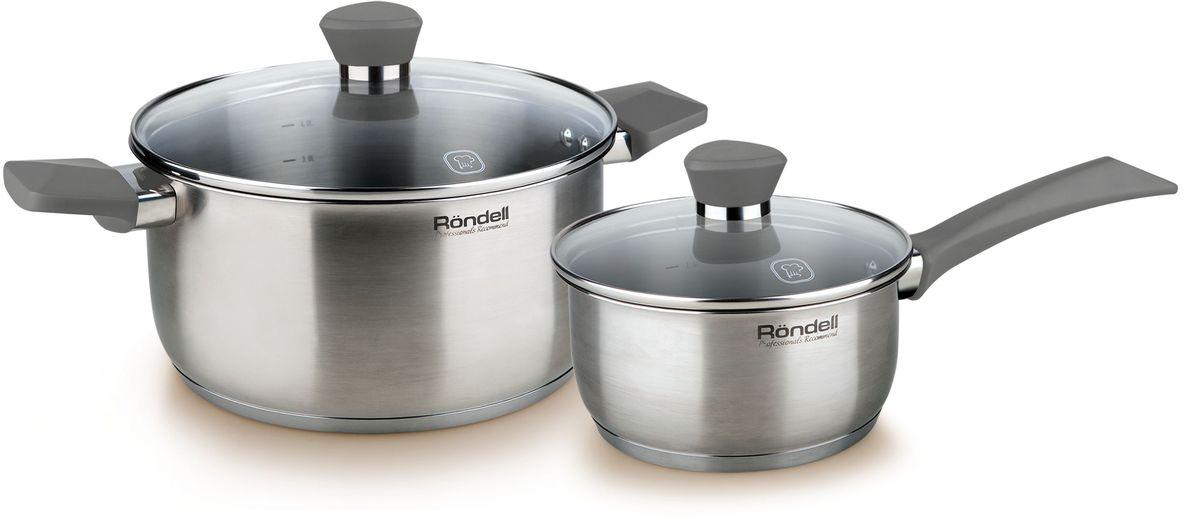 Набор посуды Rondell Strike, 4 предмета. RDS-81994672Набор 4 предмета (кастрюля 20 см, ковш 16 см) серые ручки Strike Rondell