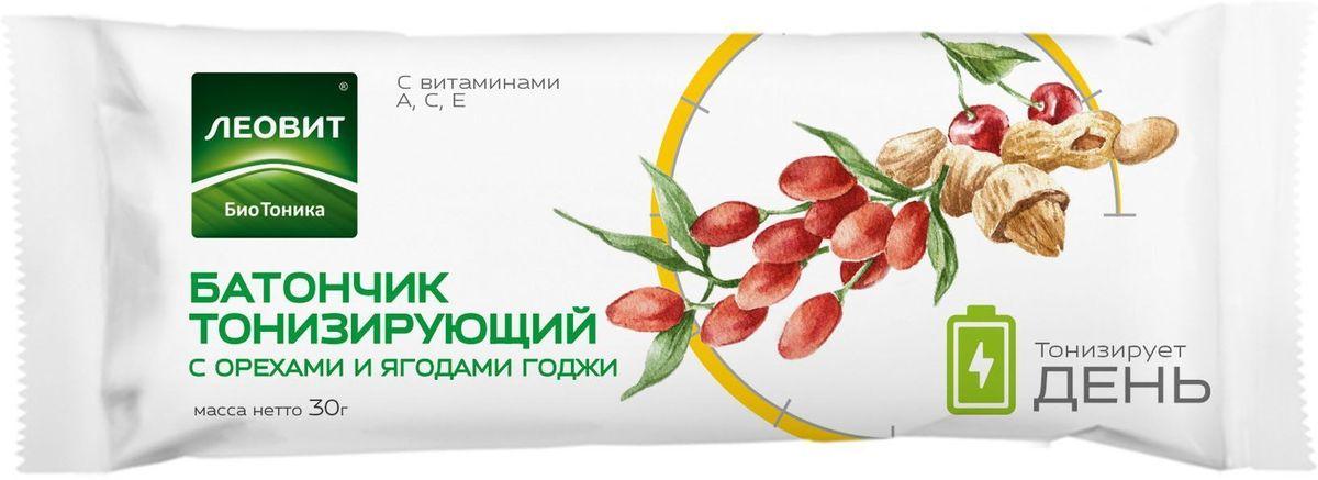 БиоТоника Батончик тонизирующий с орехами и ягодами годжи, 30 г0120710Специально для людей, живущих в высоком темпе, мы создали батончик с орехами и ягодами, добавив в него витамины и биологически активные компоненты. Ягоды годжи, экстракт родиолы розовой и экстракт лимонника обладают тонизирующими и общеукрепляющими свойствами. Витамины C, E, A являются антиоксидантами. Состав батончика работает сразу в нескольких направлениях: поддерживает иммунную систему и повышает тонус организма. Захватите его в дорогу, на работу или занятия спортом. Будьте в тонусе!