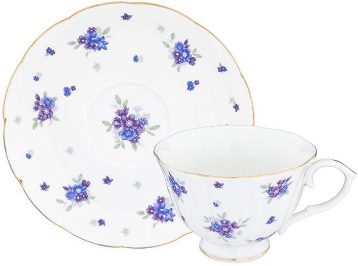Чайная пара Elan Gallery Сиреневый туман, 2 предмета740276Шикарная чайная пара на 1 персону в нежных тонах станет памятным подарком. В комплекте 1 чашка на ножке объемом 250 мл, 1 блюдце. Изделие имеет прозрачную подарочную упаковку с бантиком, поэтому станет желанным подарком для Ваших близких, коллег и друзей!