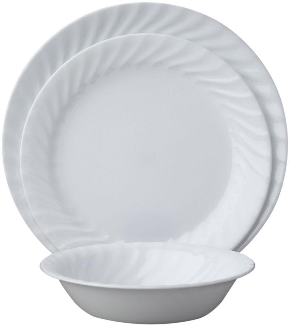 Набор столовой посуды Corelle Enhancements, 18 предметов. 1088631115510Посуда Corelle мирового бренда WorldKitchen сделана из материала Vitrelle. Стекло Vitrelle является экологически чистым материалом без посторонних добавок. Идеальный белый цвет посуды достигается путем сверхвысокой термической обработки компонентов. Vitrelle сверхпрочный материал, используемый для столовой посуды, изобретенный в начале 1970х в Соединенных Штатах Америки. Материал сделан из трех слоев стекла спеченных вместе. Посуда Vitrelle тонка и легка при том, что является более ударопрочной по сравнению с обычной столовой посудой. Соль, полевой шпат, известняк, и 2 других вида соли попадают в печь, где при 1400 градусов Цельсия превращаются в жидкое стекло. Стекло заливается в молды, где соединяются 3 слоя в один. Края посуды обрабатываются огненной полировкой. Проходя через дополнительную обработку, три слоя приобретают сверхпрочность. Путем шелкографии на днище наносится бренд, а так же дополнительная информация. Узор на посуде так же наносится путем шелкографии. Готовая посуда подвергается воздействию 800 градусов для закрепления узора. В конце посуда обрабатывается спреем на основе силикона для исключения царапин при транспортировке.