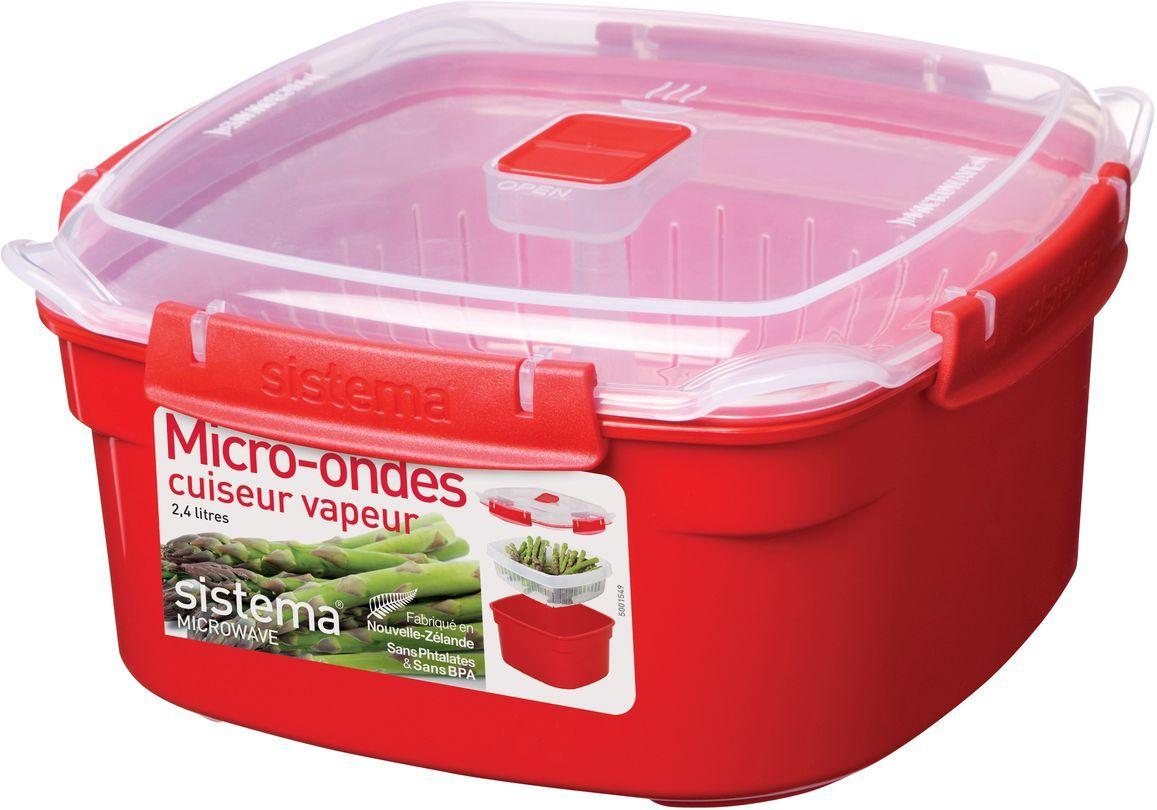 Контейнер пищевой Sistema Microwave, 2,4 л, цвет: красный. 11021102Особенности линейки: Используя высококачественные контейнеры бренда Sistema, производства Новая Зеландия, Вы с легкостью сможете не только разогреть пищу в СВЧ, но и приготовить ее. Нет ничего более полезного, чем приготовление на пару в контейнерах Sistema. Просто налейте воды в базовый контейнер, поместите пищу в пластиковый дуршлаг, откройте на крышке клапан пароотвода и поместите все в микроволновую печь. Через несколько минут вы можете насладиться божественной пищей. Время приготовления может варьироваться в зависимости от мощности СВЧ. Материал контейнера не выделяет фенол в готовящуюся пищу.