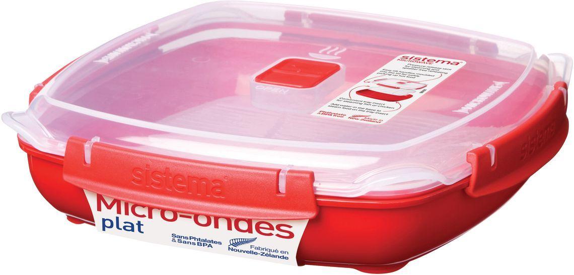 Контейнер пищевой Sistema Microwave, 1,3 л, цвет: красный. 11061106Особенности линейки: Используя высококачественные контейнеры бренда Sistema, производства Новая Зеландия, Вы с легкостью сможете не только разогреть пищу в СВЧ, но и приготовить ее. Нет ничего более полезного, чем приготовление на пару в контейнерах Sistema. Просто налейте воды в базовый контейнер, поместите пищу в пластиковый дуршлаг, откройте на крышке клапан пароотвода и поместите все в микроволновую печь. Через несколько минут вы можете насладиться божественной пищей. Время приготовления может варьироваться в зависимости от мощности СВЧ. Материал контейнера не выделяет фенол в готовящуюся пищу.