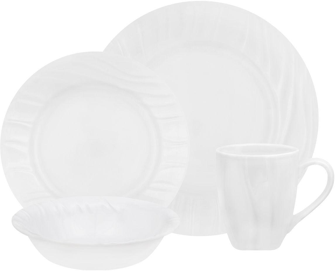 Набор столовой посуды Corelle Swept, 16 предметов. 11078731107873Посуда Corelle мирового бренда WorldKitchen сделана из материала Vitrelle. Стекло Vitrelle является экологически чистым материалом без посторонних добавок. Идеальный белый цвет посуды достигается путем сверхвысокой термической обработки компонентов. Vitrelle сверхпрочный материал, используемый для столовой посуды, изобретенный в начале 1970х в Соединенных Штатах Америки. Материал сделан из трех слоев стекла спеченных вместе. Посуда Vitrelle тонка и легка при том, что является более ударопрочной по сравнению с обычной столовой посудой. Соль, полевой шпат, известняк, и 2 других вида соли попадают в печь, где при 1400 градусов Цельсия превращаются в жидкое стекло. Стекло заливается в молды, где соединяются 3 слоя в один. Края посуды обрабатываются огненной полировкой. Проходя через дополнительную обработку, три слоя приобретают сверхпрочность. Путем шелкографии на днище наносится бренд, а так же дополнительная информация. Узор на посуде так же наносится путем шелкографии. Готовая посуда...