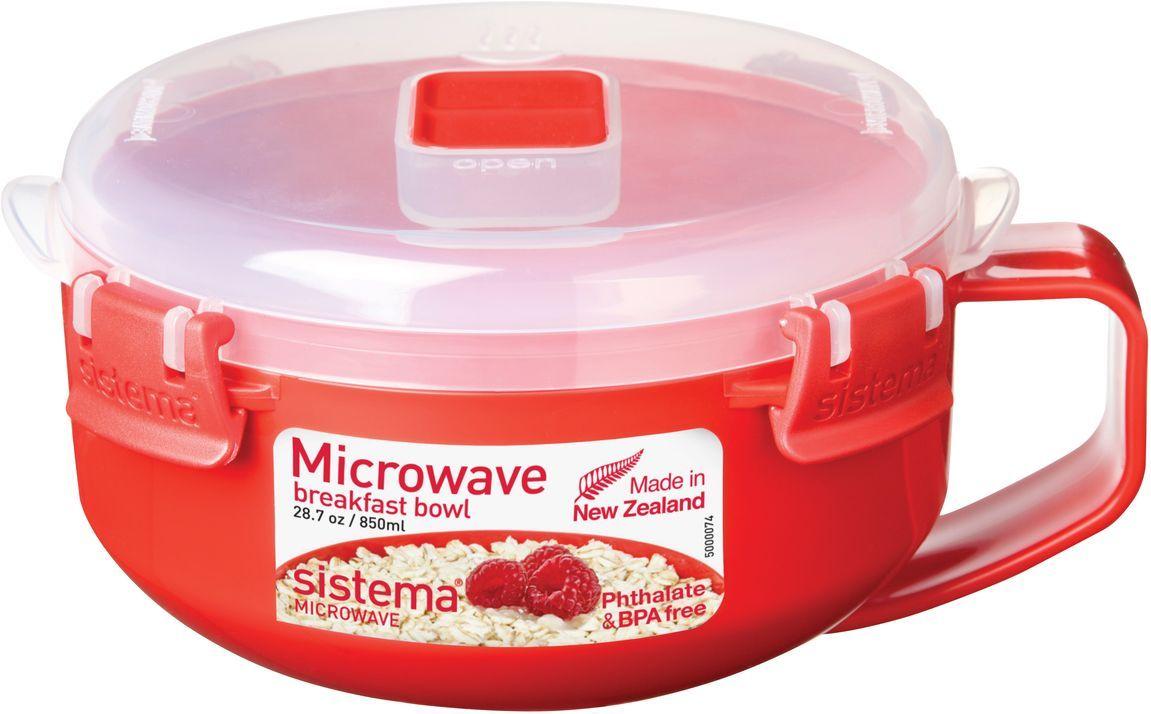 Чаша для завтрака Sistema Microwave, 850 мл, цвет: красный. 11121112Особенности линейки: Используя высококачественные контейнеры бренда Sistema, производства Новая Зеландия, Вы с легкостью сможете не только разогреть пищу в СВЧ, но и приготовить ее. Нет ничего более полезного, чем приготовление на пару в контейнерах Sistema. Просто налейте воды в базовый контейнер, поместите пищу в контейнер, откройте на крышке клапан пароотвода и поместите все в микроволновую печь. Через несколько минут вы можете насладиться божественной пищей. Время приготовления может варьироваться в зависимости от мощности СВЧ. Материал контейнера не выделяет фенол в готовящуюся пищу.