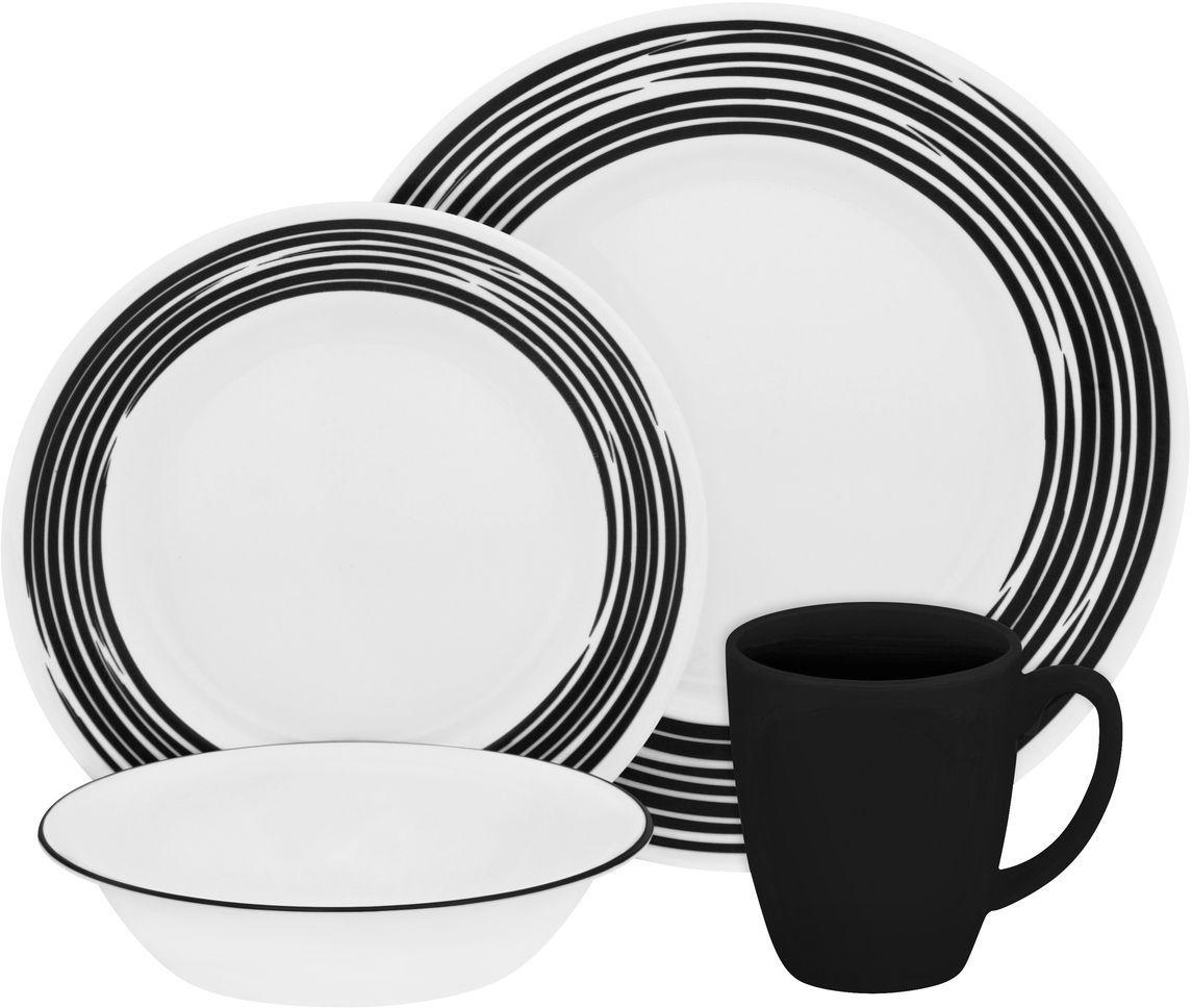 Набор столовой посуды Corelle Brushed Black, 16 предметов. 11170221117022Посуда Corelle мирового бренда WorldKitchen сделана из материала Vitrelle. Стекло Vitrelle является экологически чистым материалом без посторонних добавок. Идеальный белый цвет посуды достигается путем сверхвысокой термической обработки компонентов. Vitrelle сверхпрочный материал, используемый для столовой посуды, изобретенный в начале 1970х в Соединенных Штатах Америки. Материал сделан из трех слоев стекла спеченных вместе. Посуда Vitrelle тонка и легка при том, что является более ударопрочной по сравнению с обычной столовой посудой. Соль, полевой шпат, известняк, и 2 других вида соли попадают в печь, где при 1400 градусов Цельсия превращаются в жидкое стекло. Стекло заливается в молды, где соединяются 3 слоя в один. Края посуды обрабатываются огненной полировкой. Проходя через дополнительную обработку, три слоя приобретают сверхпрочность. Путем шелкографии на днище наносится бренд, а так же дополнительная информация. Узор на посуде так же наносится путем шелкографии. Готовая посуда...