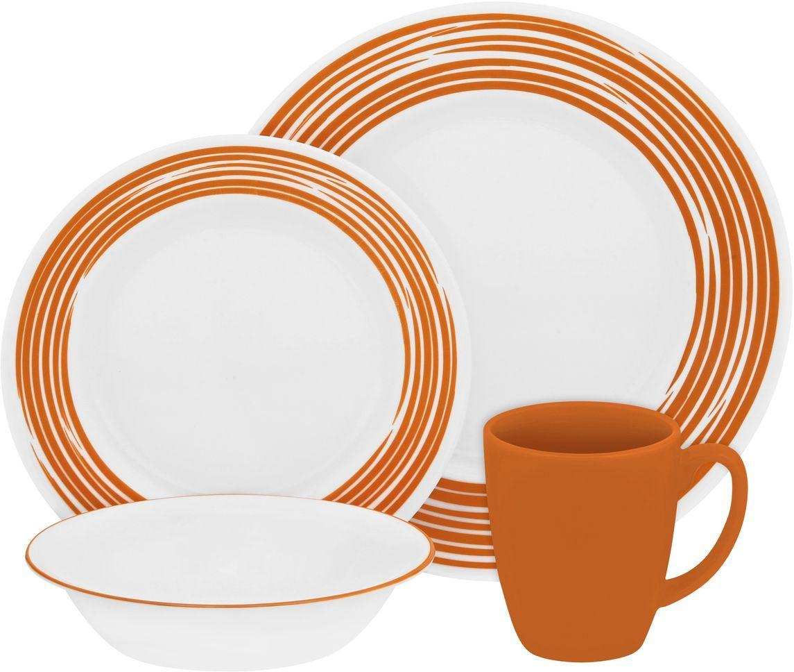 Набор столовой посуды Corelle Brushed Orange, 16 предметов. 11170241117024Посуда Corelle мирового бренда WorldKitchen сделана из материала Vitrelle. Стекло Vitrelle является экологически чистым материалом без посторонних добавок. Идеальный белый цвет посуды достигается путем сверхвысокой термической обработки компонентов. Vitrelle сверхпрочный материал, используемый для столовой посуды, изобретенный в начале 1970х в Соединенных Штатах Америки. Материал сделан из трех слоев стекла спеченных вместе. Посуда Vitrelle тонка и легка при том, что является более ударопрочной по сравнению с обычной столовой посудой. Соль, полевой шпат, известняк, и 2 других вида соли попадают в печь, где при 1400 градусов Цельсия превращаются в жидкое стекло. Стекло заливается в молды, где соединяются 3 слоя в один. Края посуды обрабатываются огненной полировкой. Проходя через дополнительную обработку, три слоя приобретают сверхпрочность. Путем шелкографии на днище наносится бренд, а так же дополнительная информация. Узор на посуде так же наносится путем шелкографии. Готовая посуда...