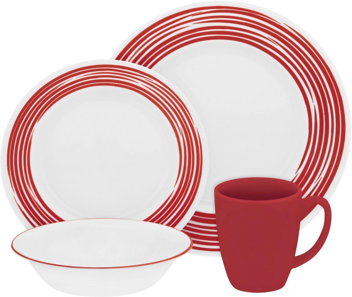 Набор столовой посуды Corelle Brushed Red , 16 предметов. 11170281117028Посуда Corelle мирового бренда WorldKitchen сделана из материала Vitrelle. Стекло Vitrelle является экологически чистым материалом без посторонних добавок. Идеальный белый цвет посуды достигается путем сверхвысокой термической обработки компонентов. Vitrelle сверхпрочный материал, используемый для столовой посуды, изобретенный в начале 1970х в Соединенных Штатах Америки. Материал сделан из трех слоев стекла спеченных вместе. Посуда Vitrelle тонка и легка при том, что является более ударопрочной по сравнению с обычной столовой посудой. Соль, полевой шпат, известняк, и 2 других вида соли попадают в печь, где при 1400 градусов Цельсия превращаются в жидкое стекло. Стекло заливается в молды, где соединяются 3 слоя в один. Края посуды обрабатываются огненной полировкой. Проходя через дополнительную обработку, три слоя приобретают сверхпрочность. Путем шелкографии на днище наносится бренд, а так же дополнительная информация. Узор на посуде так же наносится путем шелкографии. Готовая посуда...
