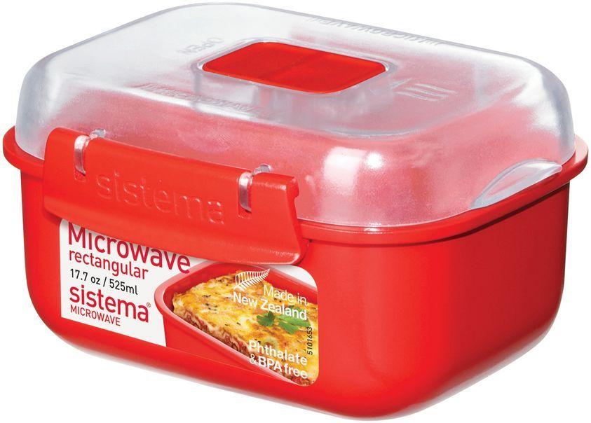 Контейнер пищевой Sistema Microwave, 525 мл, цвет: красный. 11191119Особенности линейки: Используя высококачественные контейнеры бренда Sistema, производства Новая Зеландия, Вы с легкостью сможете не только разогреть пищу в СВЧ, но и приготовить ее. Нет ничего более полезного, чем приготовление на пару в контейнерах Sistema. Просто налейте воды в базовый контейнер, поместите пищу в контейнер, откройте на крышке клапан пароотвода и поместите все в микроволновую печь. Через несколько минут вы можете насладиться божественной пищей. Время приготовления может варьироваться в зависимости от мощности СВЧ. Материал контейнера не выделяет фенол в готовящуюся пищу.