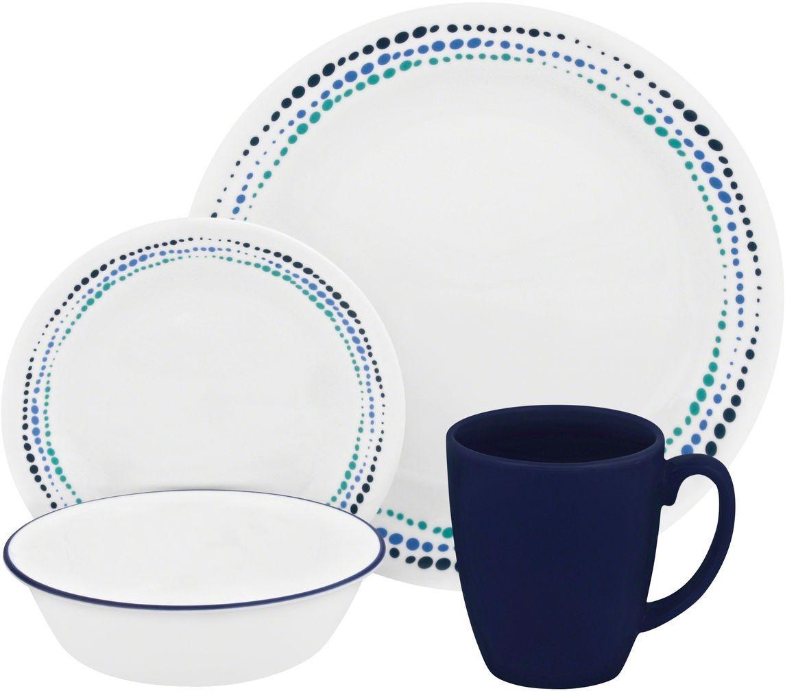 Набор столовой посуды Corelle Ocean Blues, 16 предметов. 11194031119403Посуда Corelle мирового бренда WorldKitchen сделана из материала Vitrelle. Стекло Vitrelle является экологически чистым материалом без посторонних добавок. Идеальный белый цвет посуды достигается путем сверхвысокой термической обработки компонентов. Vitrelle сверхпрочный материал, используемый для столовой посуды, изобретенный в начале 1970х в Соединенных Штатах Америки. Материал сделан из трех слоев стекла спеченных вместе. Посуда Vitrelle тонка и легка при том, что является более ударопрочной по сравнению с обычной столовой посудой. Соль, полевой шпат, известняк, и 2 других вида соли попадают в печь, где при 1400 градусов Цельсия превращаются в жидкое стекло. Стекло заливается в молды, где соединяются 3 слоя в один. Края посуды обрабатываются огненной полировкой. Проходя через дополнительную обработку, три слоя приобретают сверхпрочность. Путем шелкографии на днище наносится бренд, а так же дополнительная информация. Узор на посуде так же наносится путем шелкографии. Готовая посуда...