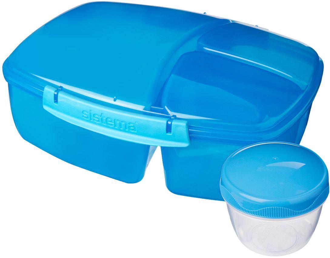 Контейнер пищевой Sistema Lunch, 3-х секционный, с баночкой, 2л. 2092020920Особенности линейки: Предназначены для людей с активным образом жизни, для тех кто все успевает. Оригинальный дизайн и многообразие цветов. Оригинальная система клапана для закрытия различные емкости контейнеров. Надежность закрытия контейнера. Материал контейнера свободный от фенола и других вредных примесей. В наличии одиночные контейнеры и наборы. Серия контейнеров и бутылок по принципу возьми с собой. SISTEMA To Go