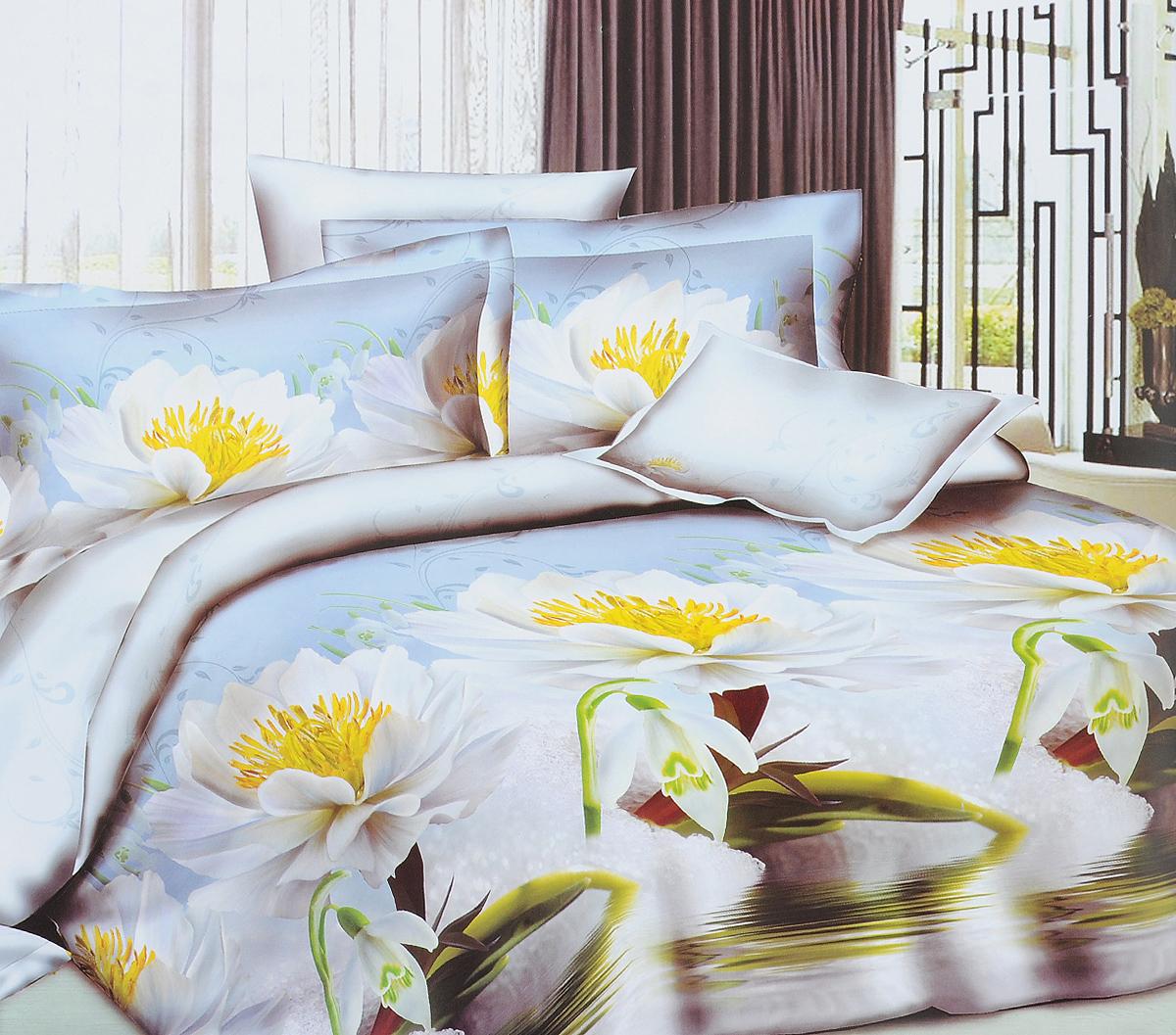 Комплект белья ЭГО Лето, евро, наволочки 70x70Э-2033-03Комплект постельного белья ЭГО Лето выполнен из полисатина (50% хлопка, 50% полиэстера). Комплект состоит из пододеяльника, простыни и двух наволочек. Постельное белье, оформленное цветочным принтом, имеет изысканный внешний вид и яркую цветовую гамму. Наволочки застегиваются на клапаны. Гладкая структура делает ткань приятной на ощупь, мягкой и нежной, при этом она прочная и хорошо сохраняет форму. Ткань легко гладится, не линяет и не садится. Благодаря такому комплекту постельного белья вы сможете создать атмосферу роскоши и романтики в вашей спальне.