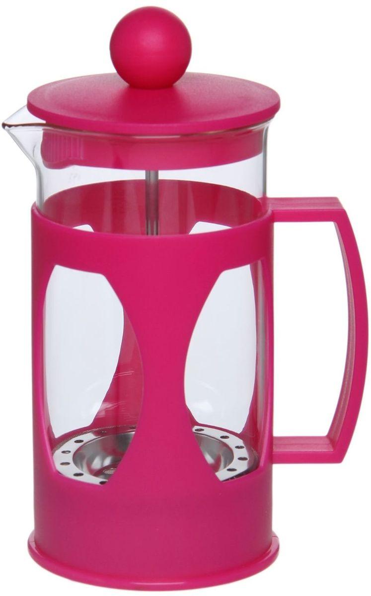Френч-пресс Доляна Оливер, цвет: фуксия, 350 мл1075436Френч-пресс —приспособление для приготовления чая и кофе. Он пользуется огромным спросом у любителей этих напитков, ведь изделие довольно простое в использовании и имеет ряд других преимуществ: чай в нём быстрее заваривается; ёмкость позволяет наиболее полно раскрыться вкусовым качествам напитка; вы можете готовить кофе и чай с любимыми специями и травами. Как сделать вкусный кофе при помощи френч-пресса? Сначала вам нужно перемолоть зёрна. Степень помола — грубая. Вскипятите воду. Насыпьте кофе в изделие и медленно залейте его кипятком из чайника. Сначала наполните приспособление до середины, подождите 1 минуту и долейте остальное. Накройте крышкой, пусть напиток настоится ещё 3 минуты. Медленно опустите поршень. Оставьте кофе на 3 минуты, чтобы опустился осадок. Ваш напиток готов!