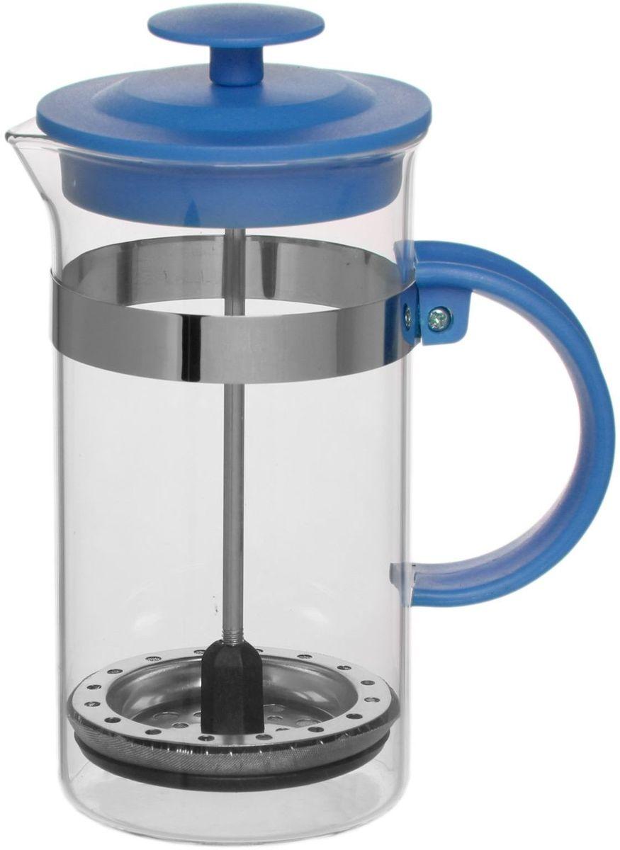Френч-пресс Доляна Гарсон, цвет: голубой, 350 мл1075448Френч-пресс —приспособление для приготовления чая и кофе. Он пользуется огромным спросом у любителей этих напитков, ведь изделие довольно простое в использовании и имеет ряд других преимуществ: чай в нём быстрее заваривается; ёмкость позволяет наиболее полно раскрыться вкусовым качествам напитка; вы можете готовить кофе и чай с любимыми специями и травами. Как сделать вкусный кофе при помощи френч-пресса? Сначала вам нужно перемолоть зёрна. Степень помола — грубая. Вскипятите воду. Насыпьте кофе в изделие и медленно залейте его кипятком из чайника. Сначала наполните приспособление до середины, подождите 1 минуту и долейте остальное. Накройте крышкой, пусть напиток настоится ещё 3 минуты. Медленно опустите поршень. Оставьте кофе на 3 минуты, чтобы опустился осадок. Ваш напиток готов!