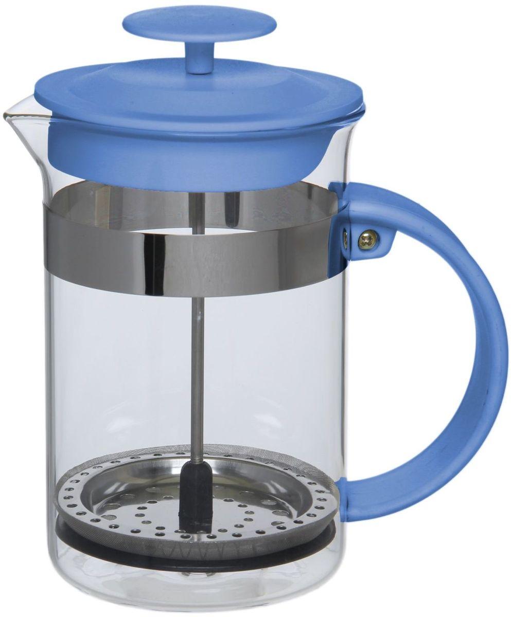 Френч-пресс Доляна Гарсон, цвет: голубой, 800 мл1075452Френч-пресс —приспособление для приготовления чая и кофе. Он пользуется огромным спросом у любителей этих напитков, ведь изделие довольно простое в использовании и имеет ряд других преимуществ: чай в нём быстрее заваривается; ёмкость позволяет наиболее полно раскрыться вкусовым качествам напитка; вы можете готовить кофе и чай с любимыми специями и травами. Как сделать вкусный кофе при помощи френч-пресса? Сначала вам нужно перемолоть зёрна. Степень помола — грубая. Вскипятите воду. Насыпьте кофе в изделие и медленно залейте его кипятком из чайника. Сначала наполните приспособление до середины, подождите 1 минуту и долейте остальное. Накройте крышкой, пусть напиток настоится ещё 3 минуты. Медленно опустите поршень. Оставьте кофе на 3 минуты, чтобы опустился осадок. Ваш напиток готов!