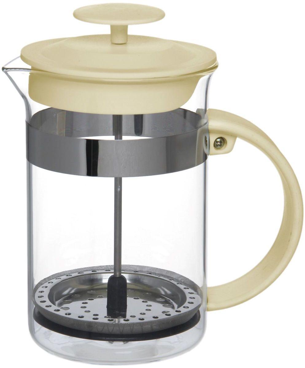 Френч-пресс Доляна Гарсон, цвет: молочный, 800 мл1075453Френч-пресс —приспособление для приготовления чая и кофе. Он пользуется огромным спросом у любителей этих напитков, ведь изделие довольно простое в использовании и имеет ряд других преимуществ: чай в нём быстрее заваривается; ёмкость позволяет наиболее полно раскрыться вкусовым качествам напитка; вы можете готовить кофе и чай с любимыми специями и травами. Как сделать вкусный кофе при помощи френч-пресса? Сначала вам нужно перемолоть зёрна. Степень помола — грубая. Вскипятите воду. Насыпьте кофе в изделие и медленно залейте его кипятком из чайника. Сначала наполните приспособление до середины, подождите 1 минуту и долейте остальное. Накройте крышкой, пусть напиток настоится ещё 3 минуты. Медленно опустите поршень. Оставьте кофе на 3 минуты, чтобы опустился осадок. Ваш напиток готов!