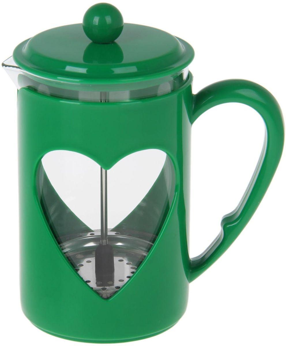 Френч-пресс Доляна Комплимент, цвет: зеленый, 800 мл1194529Френч-пресс —приспособление для приготовления чая и кофе. Он пользуется огромным спросом у любителей этих напитков, ведь изделие довольно простое в использовании и имеет ряд других преимуществ: чай в нём быстрее заваривается; ёмкость позволяет наиболее полно раскрыться вкусовым качествам напитка; вы можете готовить кофе и чай с любимыми специями и травами. Как сделать вкусный кофе при помощи френч-пресса? Сначала вам нужно перемолоть зёрна. Степень помола — грубая. Вскипятите воду. Насыпьте кофе в изделие и медленно залейте его кипятком из чайника. Сначала наполните приспособление до середины, подождите 1 минуту и долейте остальное. Накройте крышкой, пусть напиток настоится ещё 3 минуты. Медленно опустите поршень. Оставьте кофе на 3 минуты, чтобы опустился осадок. Ваш напиток готов!