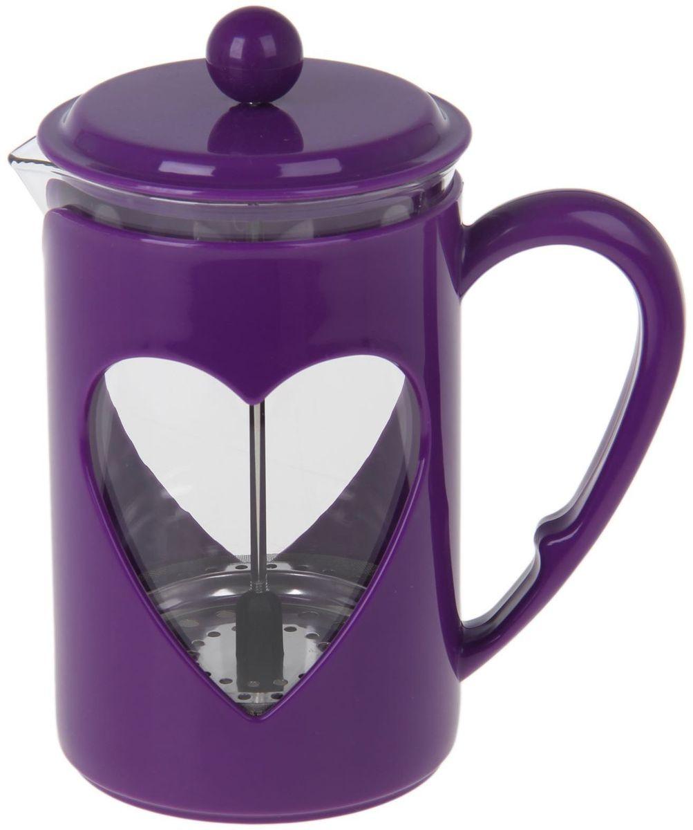 Френч-пресс Доляна Комплимент, цвет: фиолетовый, 800 мл1194530Френч-пресс —приспособление для приготовления чая и кофе. Он пользуется огромным спросом у любителей этих напитков, ведь изделие довольно простое в использовании и имеет ряд других преимуществ: чай в нём быстрее заваривается; ёмкость позволяет наиболее полно раскрыться вкусовым качествам напитка; вы можете готовить кофе и чай с любимыми специями и травами. Как сделать вкусный кофе при помощи френч-пресса? Сначала вам нужно перемолоть зёрна. Степень помола — грубая. Вскипятите воду. Насыпьте кофе в изделие и медленно залейте его кипятком из чайника. Сначала наполните приспособление до середины, подождите 1 минуту и долейте остальное. Накройте крышкой, пусть напиток настоится ещё 3 минуты. Медленно опустите поршень. Оставьте кофе на 3 минуты, чтобы опустился осадок. Ваш напиток готов!