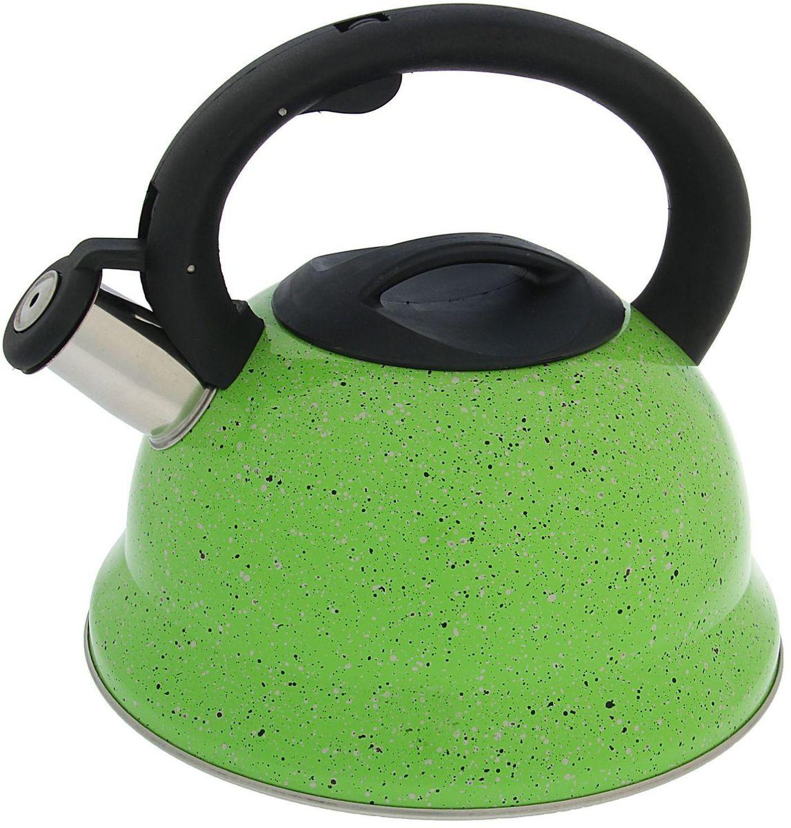 Чайник Доляна Рио, со свистком, цвет: зеленый, 2,8 л1405204Бытовая посуда из нержавеющей стали славится неприхотливостью в уходе и безукоризненной функциональностью. Коррозиестойкий сплав обеспечивает гигиеничность изделий. Чайники из этого материала абсолютно безопасны для здоровья человека. Чем привлекательна посуда из нержавейки? Чайник из нержавеющей стали станет удачной находкой для дома или ресторана: благодаря низкой теплопроводности модели вода дольше остается горячей; необычный дизайн радует глаз и поднимает настроение; качественное дно гарантирует быстрый нагрев. Как продлить срок службы? Ухаживать за новым приобретением элементарно просто, но стоит помнить о нескольких нехитрых правилах. Во-первых, не следует применять абразивные инструменты и сильнохлорированные моющие средства. Во-вторых, не оставляйте пустую посуду на плите. В-третьих, если вы уезжаете из дома на длительное время - выливайте воду из чайника. Если на внутренней поверхности изделия появились пятна, используйте для их удаления несколько капель уксусной или лимонной...