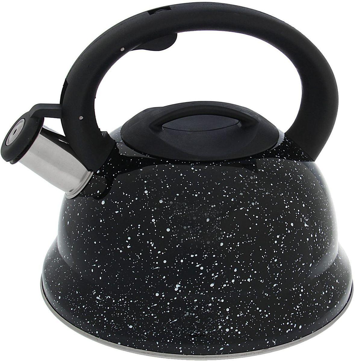 Чайник Доляна Рио, со свистком, цвет: черный, 2,8 л1405205Бытовая посуда из нержавеющей стали славится неприхотливостью в уходе и безукоризненной функциональностью. Коррозиестойкий сплав обеспечивает гигиеничность изделий. Чайники из этого материала абсолютно безопасны для здоровья человека. Чем привлекательна посуда из нержавейки? Чайник из нержавеющей стали станет удачной находкой для дома или ресторана: благодаря низкой теплопроводности модели вода дольше остается горячей; необычный дизайн радует глаз и поднимает настроение; качественное дно гарантирует быстрый нагрев. Как продлить срок службы? Ухаживать за новым приобретением элементарно просто, но стоит помнить о нескольких нехитрых правилах. Во-первых, не следует применять абразивные инструменты и сильнохлорированные моющие средства. Во-вторых, не оставляйте пустую посуду на плите. В-третьих, если вы уезжаете из дома на длительное время - выливайте воду из чайника. Если на внутренней поверхности изделия появились пятна, используйте для их удаления несколько капель уксусной или лимонной...