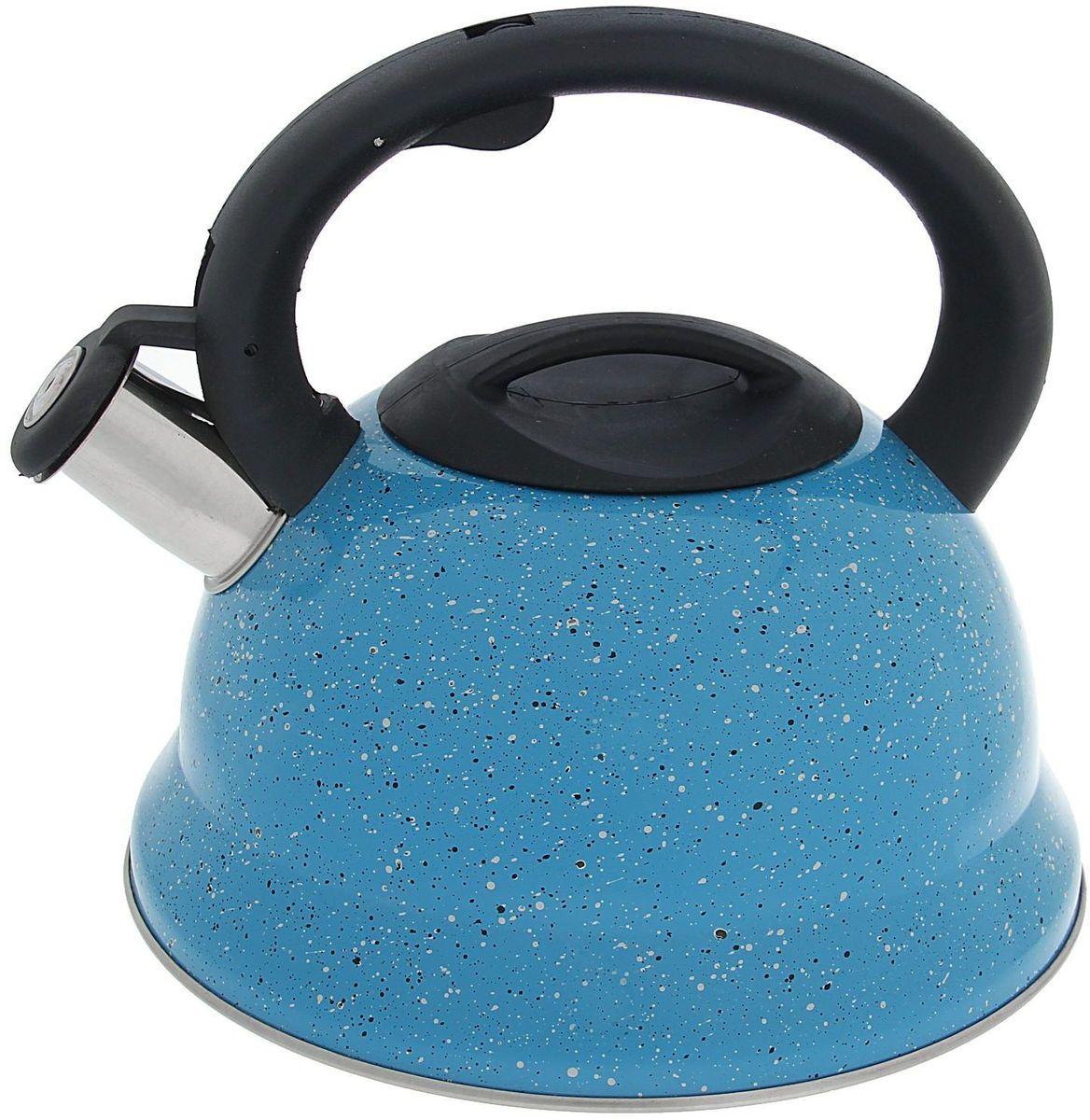 Чайник Доляна Рио, со свистком, цвет: голубой, 2,8 лCM000001326Бытовая посуда из нержавеющей стали славится неприхотливостью в уходе и безукоризненной функциональностью. Коррозиестойкий сплав обеспечивает гигиеничность изделий. Чайники из этого материала абсолютно безопасны для здоровья человека.Чем привлекательна посуда из нержавейки?Чайник из нержавеющей стали станет удачной находкой для дома или ресторана:благодаря низкой теплопроводности модели вода дольше остается горячей;необычный дизайн радует глаз и поднимает настроение;качественное дно гарантирует быстрый нагрев.Как продлить срок службы?Ухаживать за новым приобретением элементарно просто, но стоит помнить о нескольких нехитрых правилах.Во-первых, не следует применять абразивные инструменты и сильнохлорированные моющие средства.Во-вторых, не оставляйте пустую посуду на плите.В-третьих, если вы уезжаете из дома на длительное время - выливайте воду из чайника.Если на внутренней поверхности изделия появились пятна, используйте для их удаления несколько капель уксусной или лимонной кислоты.