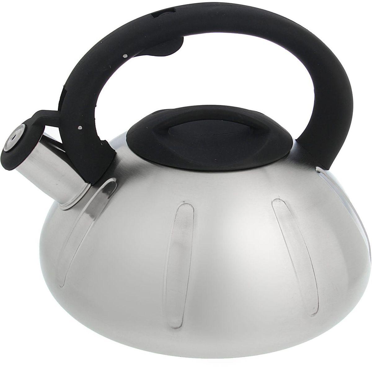 Чайник Доляна Глобал, со свистком, цвет: серый, 2,8 л1405211Бытовая посуда из нержавеющей стали славится неприхотливостью в уходе и безукоризненной функциональностью. Коррозиестойкий сплав обеспечивает гигиеничность изделий. Чайники из этого материала абсолютно безопасны для здоровья человека. Чем привлекательна посуда из нержавейки? Чайник из нержавеющей стали станет удачной находкой для дома или ресторана: благодаря низкой теплопроводности модели вода дольше остается горячей; необычный дизайн радует глаз и поднимает настроение; качественное дно гарантирует быстрый нагрев. Как продлить срок службы? Ухаживать за новым приобретением элементарно просто, но стоит помнить о нескольких нехитрых правилах. Во-первых, не следует применять абразивные инструменты и сильнохлорированные моющие средства. Во-вторых, не оставляйте пустую посуду на плите. В-третьих, если вы уезжаете из дома на длительное время - выливайте воду из чайника. Если на внутренней поверхности изделия появились пятна, используйте для их удаления несколько капель уксусной или лимонной...