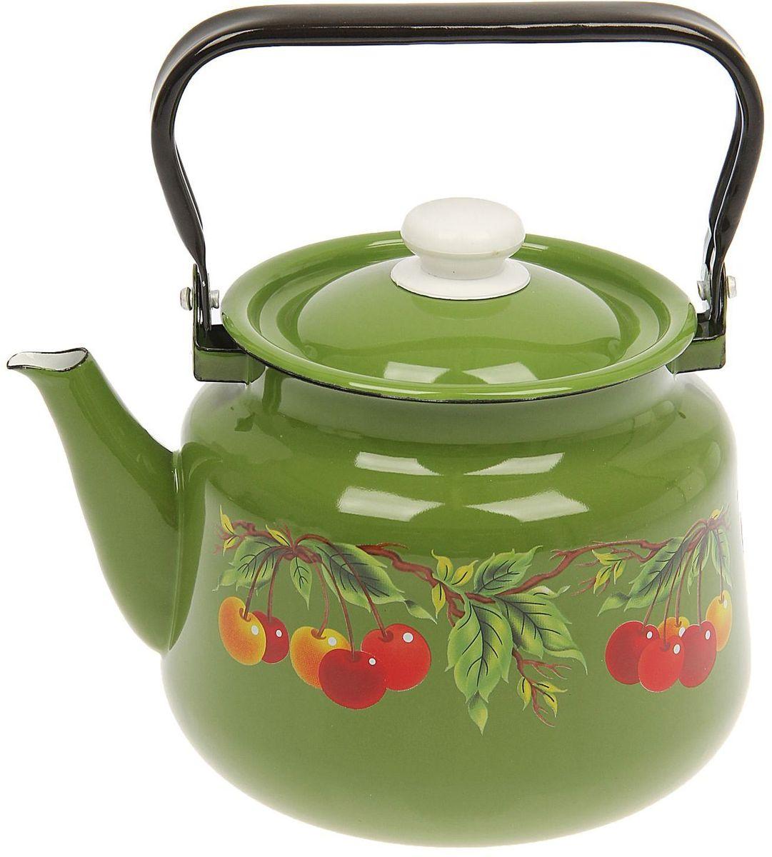 Чайник эмалированный Epos Зеленая вишня, 3,5 л115510Чайник Epos Зеленая вишня выполнен из высококачественной стали с эмалированным покрытием. Поверхность чайникагладкая, что облегчает уход за ним. Большой объемпозволит приготовить напиток для всей семьи илинебольшой компании. Эстетичный и функциональный чайник будеторигинально смотреться в любом интерьере. Душевная атмосфера и со вкусом накрытый стол всегда будут собирать в вашем доме близких и друзей.Чайник подходит для использования на всех типах плит,включая индукционные. Объем: 3,5 л.