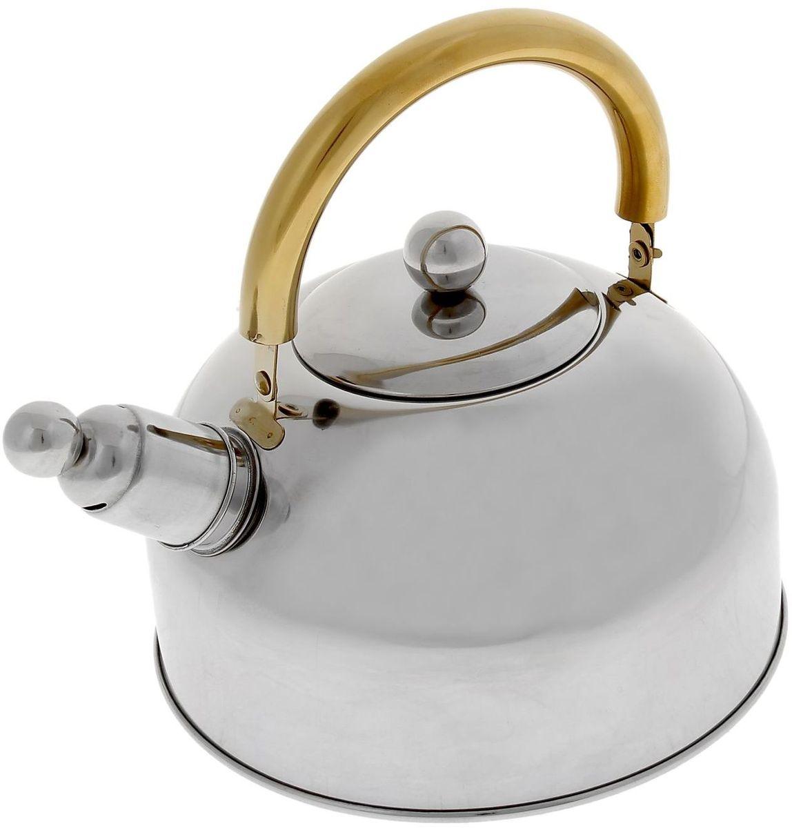 Чайник Доляна Роскошь, со свистком, 2,5 л851933Бытовая посуда из нержавеющей стали славится неприхотливостью в уходе и безукоризненной функциональностью. Коррозиестойкий сплав обеспечивает гигиеничность изделий. Чайники из этого материала абсолютно безопасны для здоровья человека. Чем привлекательна посуда из нержавейки? Чайник из нержавеющей стали станет удачной находкой для дома или ресторана: благодаря низкой теплопроводности модели вода дольше остается горячей; необычный дизайн радует глаз и поднимает настроение; качественное дно гарантирует быстрый нагрев. Как продлить срок службы? Ухаживать за новым приобретением элементарно просто, но стоит помнить о нескольких нехитрых правилах. Во-первых, не следует применять абразивные инструменты и сильнохлорированные моющие средства. Во-вторых, не оставляйте пустую посуду на плите. В-третьих, если вы уезжаете из дома на длительное время - выливайте воду из чайника. Если на внутренней поверхности изделия появились пятна, используйте для их удаления несколько капель уксусной или лимонной...