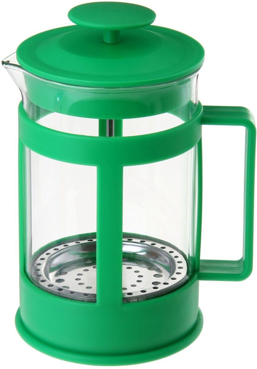 Френч-пресс Доляна Классика, цвет: зеленый, 800 мл863189Френч-пресс —приспособление для приготовления чая и кофе. Он пользуется огромным спросом у любителей этих напитков, ведь изделие довольно простое в использовании и имеет ряд других преимуществ: чай в нём быстрее заваривается; ёмкость позволяет наиболее полно раскрыться вкусовым качествам напитка; вы можете готовить кофе и чай с любимыми специями и травами. Как сделать вкусный кофе при помощи френч-пресса? Сначала вам нужно перемолоть зёрна. Степень помола — грубая. Вскипятите воду. Насыпьте кофе в изделие и медленно залейте его кипятком из чайника. Сначала наполните приспособление до середины, подождите 1 минуту и долейте остальное. Накройте крышкой, пусть напиток настоится ещё 3 минуты. Медленно опустите поршень. Оставьте кофе на 3 минуты, чтобы опустился осадок. Ваш напиток готов!