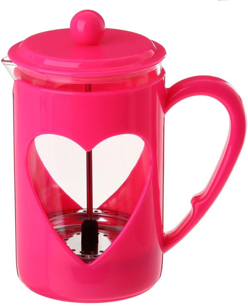 Френч-пресс Доляна Комплимент, цвет: малиновый, 350 мл863203Френч-пресс —приспособление для приготовления чая и кофе. Он пользуется огромным спросом у любителей этих напитков, ведь изделие довольно простое в использовании и имеет ряд других преимуществ: чай в нём быстрее заваривается; ёмкость позволяет наиболее полно раскрыться вкусовым качествам напитка; вы можете готовить кофе и чай с любимыми специями и травами. Как сделать вкусный кофе при помощи френч-пресса? Сначала вам нужно перемолоть зёрна. Степень помола — грубая. Вскипятите воду. Насыпьте кофе в изделие и медленно залейте его кипятком из чайника. Сначала наполните приспособление до середины, подождите 1 минуту и долейте остальное. Накройте крышкой, пусть напиток настоится ещё 3 минуты. Медленно опустите поршень. Оставьте кофе на 3 минуты, чтобы опустился осадок. Ваш напиток готов!