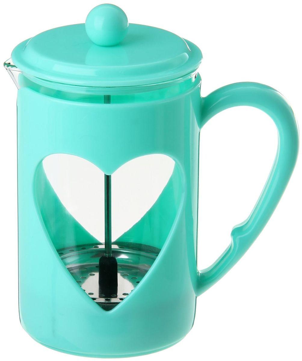 Френч-пресс Доляна Комплимент, цвет: бирюзовый, 800 мл863204Френч-пресс —приспособление для приготовления чая и кофе. Он пользуется огромным спросом у любителей этих напитков, ведь изделие довольно простое в использовании и имеет ряд других преимуществ: чай в нём быстрее заваривается; ёмкость позволяет наиболее полно раскрыться вкусовым качествам напитка; вы можете готовить кофе и чай с любимыми специями и травами. Как сделать вкусный кофе при помощи френч-пресса? Сначала вам нужно перемолоть зёрна. Степень помола — грубая. Вскипятите воду. Насыпьте кофе в изделие и медленно залейте его кипятком из чайника. Сначала наполните приспособление до середины, подождите 1 минуту и долейте остальное. Накройте крышкой, пусть напиток настоится ещё 3 минуты. Медленно опустите поршень. Оставьте кофе на 3 минуты, чтобы опустился осадок. Ваш напиток готов!