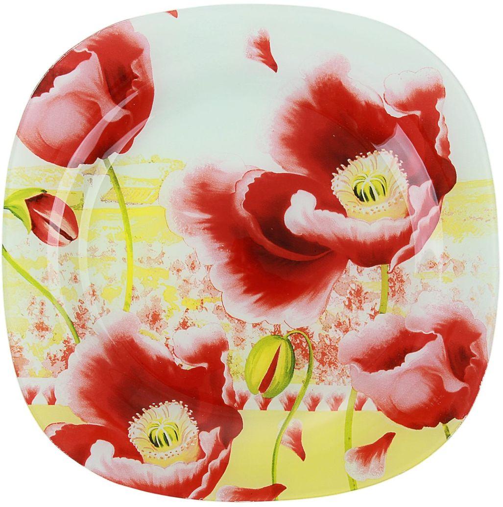 Тарелка Доляна Маки, 25 х 25 см230182Столовая посуда с природными мотивами в оформлении разнообразит интерьер кухни и сделает застолье самобытным и запоминающимся. Достоинства: качественное стекло не впитывает запахов; гладкая поверхность обеспечивает лёгкость мытья. Рекомендуется избегать использования абразивных моющих средств. Делайте любимый дом уютнее!