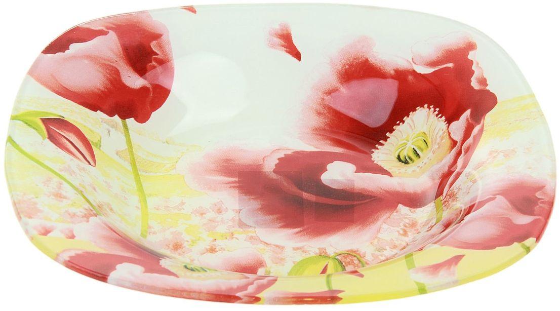 Тарелка глубокая Доляна Маки, диаметр 20 см230189Столовая посуда с природными мотивами в оформлении разнообразит интерьер кухни и сделает застолье самобытным и запоминающимся. Достоинства: качественное стекло не впитывает запахов; гладкая поверхность обеспечивает лёгкость мытья. Рекомендуется избегать использования абразивных моющих средств. Делайте любимый дом уютнее!