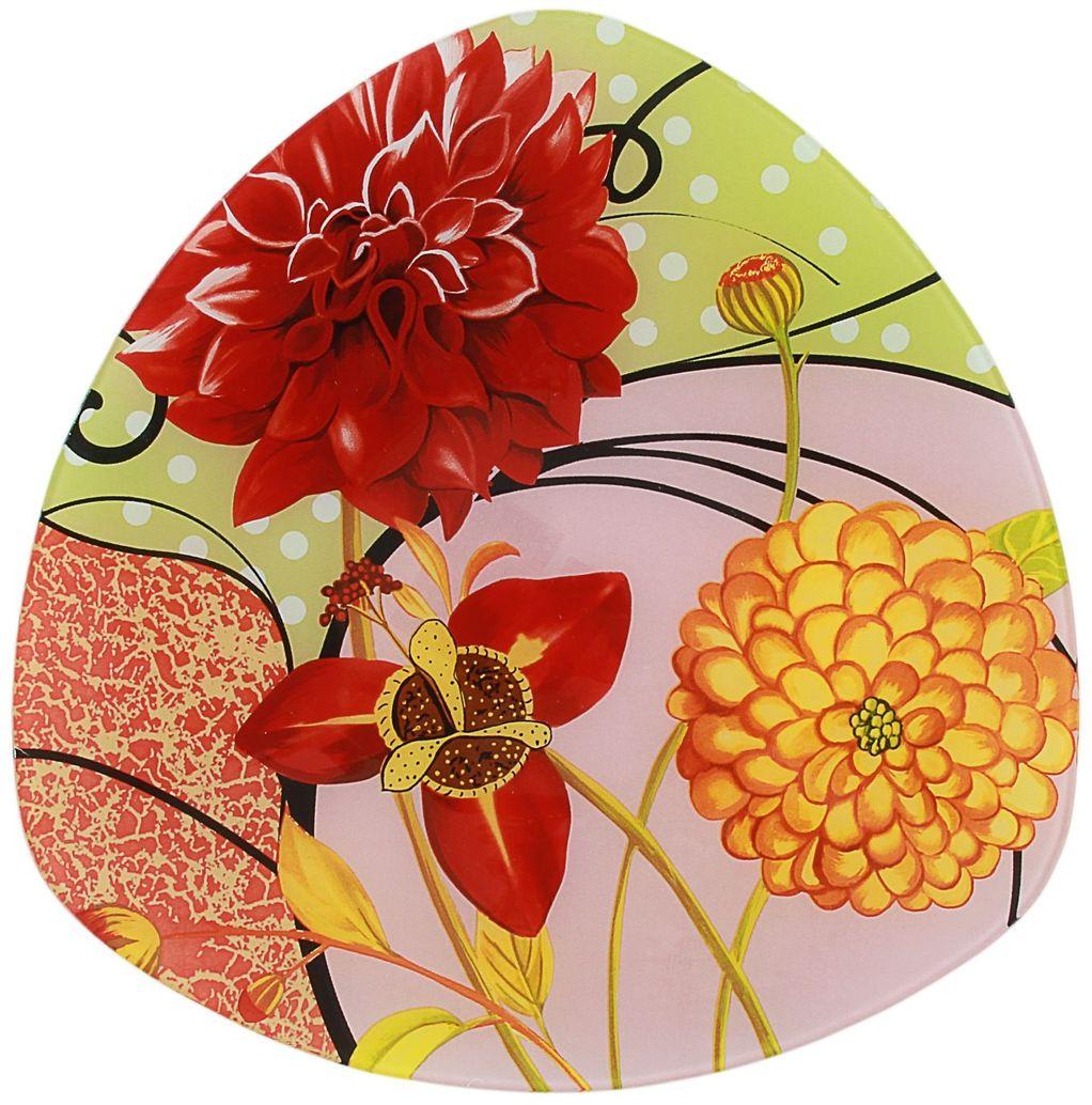 Тарелка Доляна Великолепие, диаметр 25 см230258Столовая посуда с природными мотивами в оформлении разнообразит интерьер кухни и сделает застолье самобытным и запоминающимся. Достоинства: качественное стекло не впитывает запахов; гладкая поверхность обеспечивает лёгкость мытья. Рекомендуется избегать использования абразивных моющих средств. Делайте любимый дом уютнее!