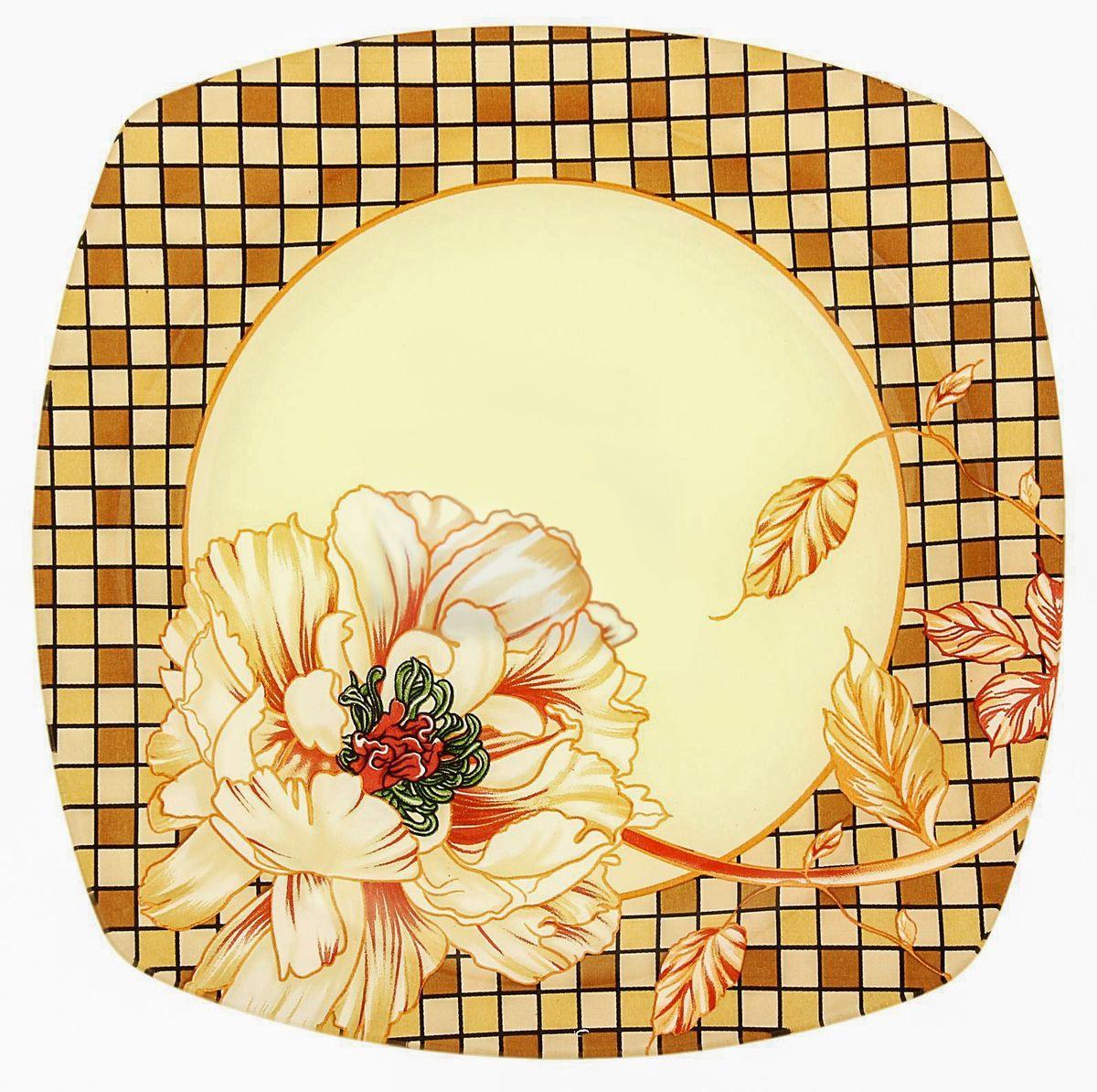 Тарелка десертная Доляна Клетка, диаметр 20 см230532Столовая посуда с природными мотивами в оформлении разнообразит интерьер кухни и сделает застолье самобытным и запоминающимся. Достоинства: качественное стекло не впитывает запахов; гладкая поверхность обеспечивает лёгкость мытья; яркий дизайн порадует ценителей стиля фолк. Рекомендуется избегать использования абразивных моющих средств. Делайте любимый дом уютнее!