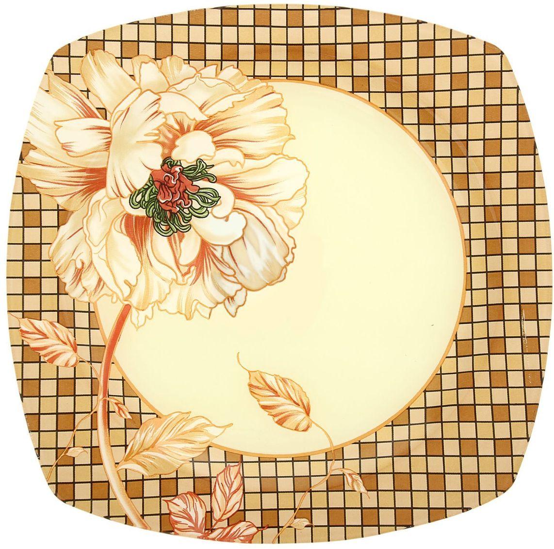 Тарелка Доляна Клетка, диаметр 25 см230544Столовая посуда с природными мотивами в оформлении разнообразит интерьер кухни и сделает застолье самобытным и запоминающимся. Достоинства: качественное стекло не впитывает запахов; гладкая поверхность обеспечивает лёгкость мытья. Рекомендуется избегать использования абразивных моющих средств. Делайте любимый дом уютнее!