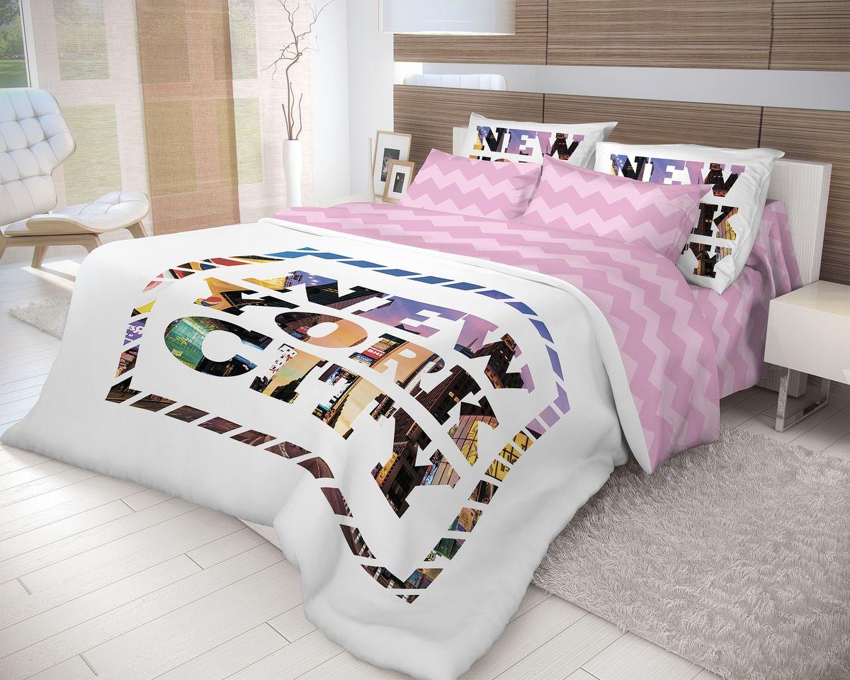 Комплект белья Волшебная ночь New York, 2-спальный, наволочки 70х70, цвет: белый, лиловый. 710572S03301004Роскошный комплект постельного белья Волшебная ночь New York выполнен из натурального ранфорса (100% хлопка) и оформлен оригинальным рисунком. Комплект состоит из пододеяльника, простыни и двух наволочек. Ранфорс - это новая современная гипоаллергенная ткань из натуральных хлопковых волокон, которая прекрасно впитывает влагу, очень проста в уходе, а за счет высокой прочности способна выдерживать большое количество стирок. Высочайшее качество материала гарантирует безопасность.