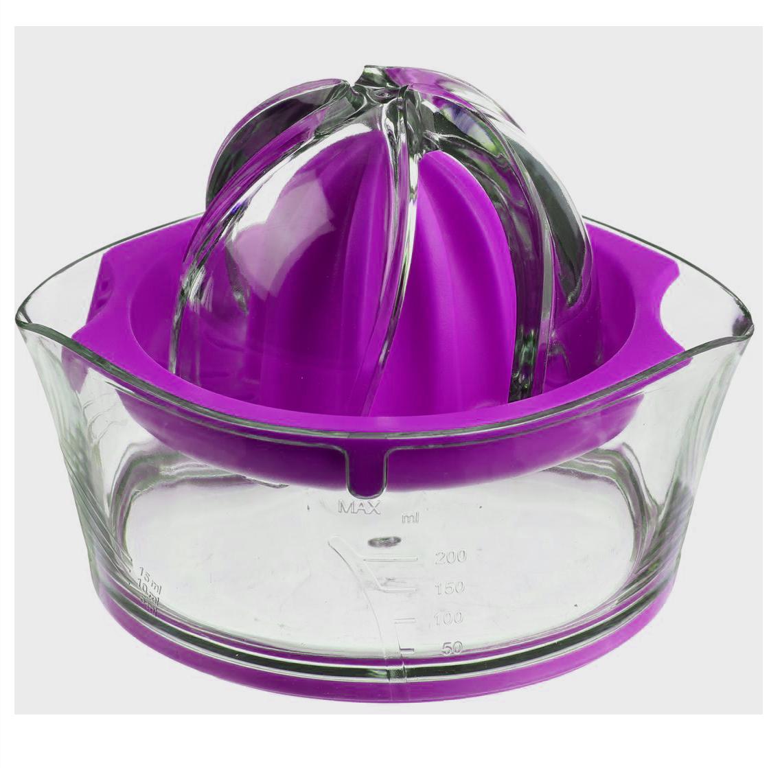 Соковыжималка для цитрусовых JJA, цвет: сиреневый, 14 х 12 х 9 см128657DКлассическая соковыжималка для цитрусовых, имеет яркий, изысканный дизайн. Шкала, нанесённая на прозрачный контейнер, поможет точно определить объём выжатого сока, а если Вы предпочитаете этот напиток без мякоти, то специальная решеточка не позволит ей попасть в Ваш стакан.