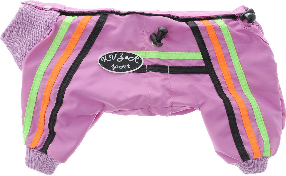 Комбинезон для собак Kuzer-Moda Спринт, для девочки, двуслойный, цвет: розовый, оранжевый. Размер 210120710Комбинезон Kuzer-Moda Спринт предназначен для собак мелких пород. Изделие отлично подойдет для прогулок в прохладную погоду.Комбинезон изготовлен из прочной ткани, которая сохранит тепло и обеспечит отличный воздухообмен. Комбинезон застегивается на кнопки и липучку, благодаря чему его легко надевать и снимать. Ворот, низ рукавов и брючин оснащены резинками, которые мягко обхватывают шею и лапки, не позволяя просачиваться холодному воздуху. На пояснице имеются затягивающиеся шнурки, которые также помогают сохранить тепло.Благодаря такому комбинезону простуда не грозит вашему питомцу, и он не даст любимцу продрогнуть на прогулке.Размер изделия соответствует длине спины животного от начала спины до основания хвоста.Размер: 21.Обхват шеи: 18-22 см.Обхват груди: 27-31 см.
