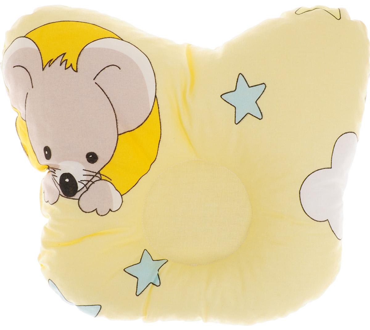 Сонный гномик Подушка анатомическая для младенцев Мышки 27 х 27 см555А_желтый, мышкиАнатомическая подушка для младенцев Сонный гномик Мышки изготовлена из бязи - 100% хлопка. Наполнитель - синтепон в гранулах (100% полиэстер). Подушка компактна и удобна для пеленания малыша и кормления на руках, она также незаменима для сна ребенка в кроватке и комфортна для использования в коляске на прогулке. Углубление в подушке фиксирует правильное положение головы ребенка. Подушка помогает правильному формированию шейного отдела позвоночника.
