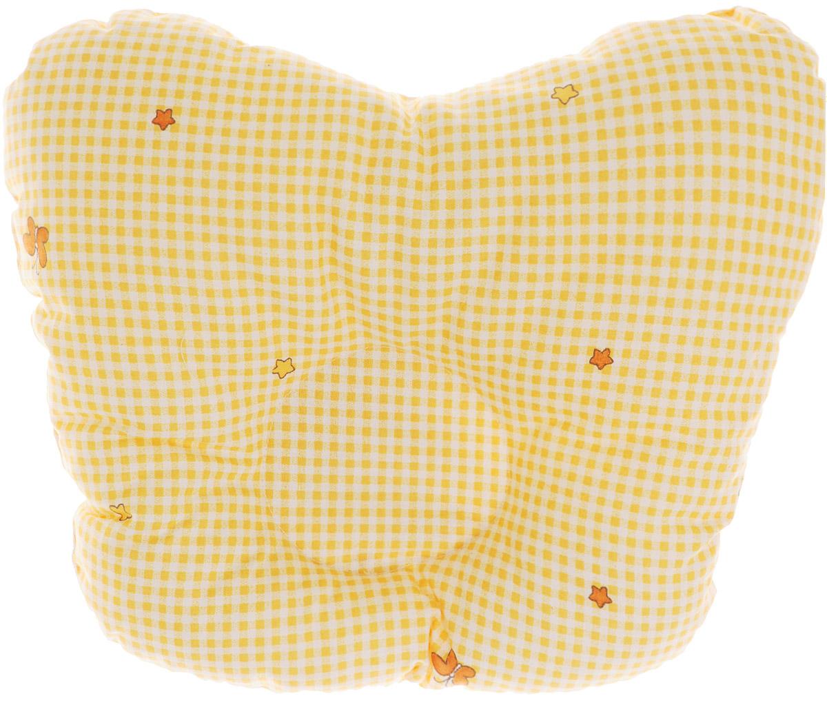 Сонный гномик Подушка анатомическая для младенцев Бабочки цвет желтый 27 х 27 см555А_желтый, бабочкиАнатомическая подушка для младенцев Сонный гномик Бабочки изготовлена из бязи - 100% хлопка. Наполнитель - синтепон в гранулах (100% полиэстер). Подушка компактна и удобна для пеленания малыша и кормления на руках, она также незаменима для сна ребенка в кроватке и комфортна для использования в коляске на прогулке. Углубление в подушке фиксирует правильное положение головы ребенка. Подушка помогает правильному формированию шейного отдела позвоночника.