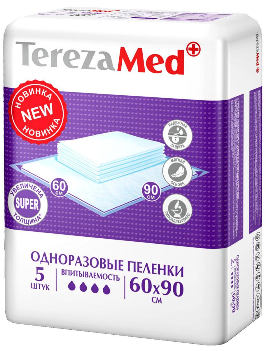 TerezaMed Пеленки одноразовые впитывающие Super 60 х 90 см 5 шт 16833
