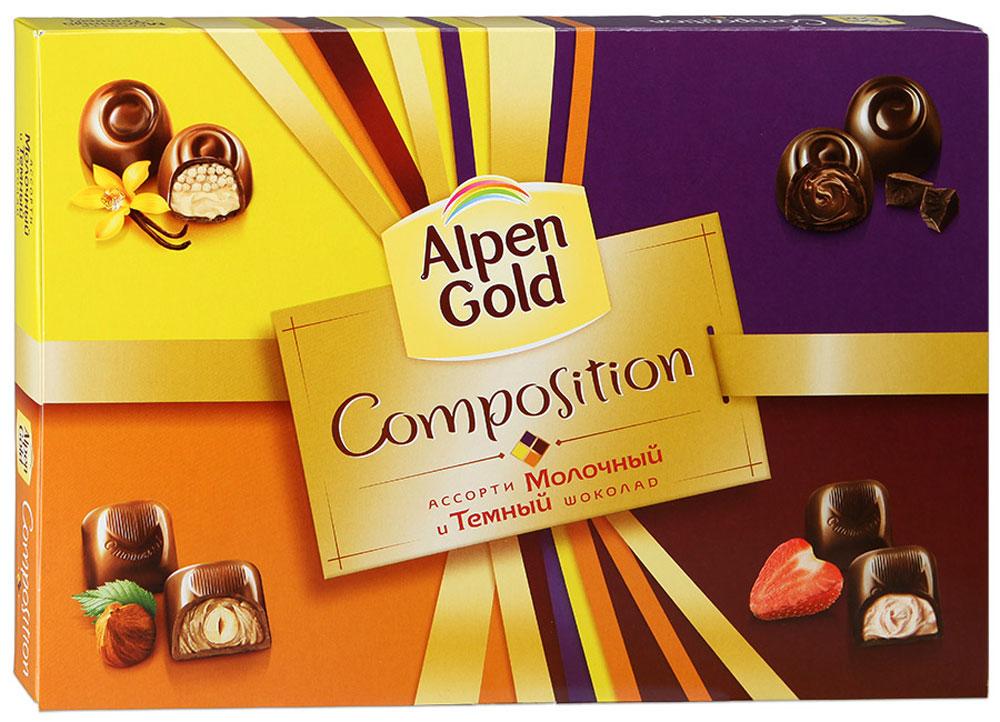 Alpen Gold Composition конфеты шоколадные ассорти, 190 г0120710Набор Alpen Gold. Composition представляет собой набор из четырех видов традиционных конфет. Это конфеты с шоколадной начинкой со вкусом капучино, с ванильной начинкой и воздушным рисом, с цельным фундуком в кремовой начинке, с дробленым фундуком в кремовой начинке. В коробке по пять конфет каждого вида.
