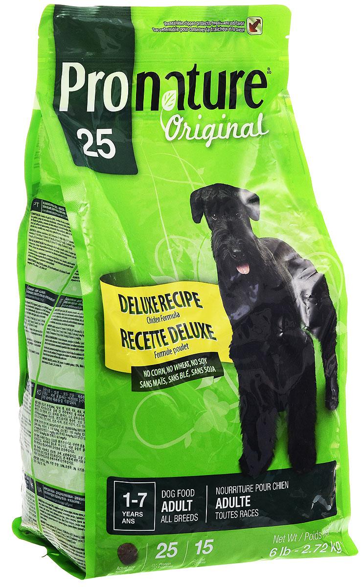 Корм сухой Pronature Original 25, для взрослых собак, с цыпленком, 2,72 кг0120710Pronature Original 25- это полноценный сбалансированный сухой корм суперпремиум класса.Изготовлен на основе муки из мяса курицы. Без пшеницы, кукурузы, сои.Корм, предназначен для собак с чувствительным желудком и склонности к аллергии. Хорошо усваивается и удовлетворяет всем потребностям чувствительного организма. Не содержит красителей, искусственных ароматизаторов, сои, субпродуктов (мясокостной муки) и ГМО. Натуральные источники пребиотиков способствуют росту нормальной кишечной микрофлоры, укрепляют иммунитет и помогают организму бороться с болезнетворными бактериями.Корм подходит для собак в возрасте от 1 года до 7 лет.Товар сертифицирован.