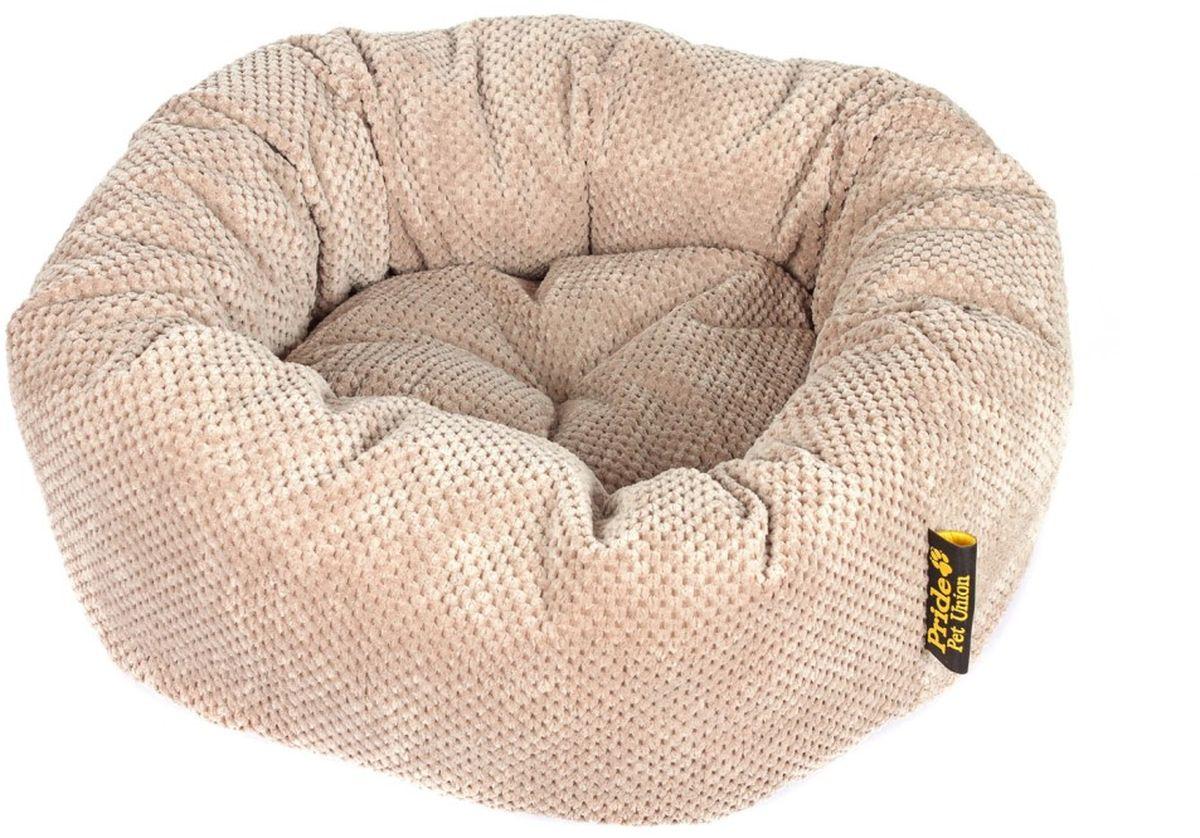 Лежак для животных Pride Ватрушка. Велюр, цвет: орех, 53 х 53 х 20 см10011342