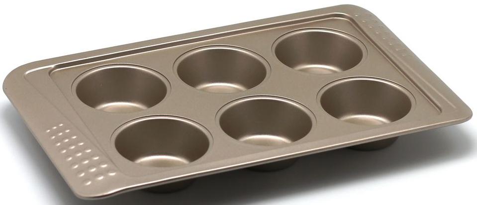 Форма для выпечки маффинов Zanussi Turin, 6 ячеек, цвет: бронзовый. ZAC35112CFZAC35112CFКоллекция форм серии Turin является хорошим приобретением любой хозяйки. Товар бренда Zanussi - металлические формы - пользуется высоким спросом, его отличает высокое качество и удобный размер. Изделия выполнены из толстой углеродистой стали. Форма имеет антипригарное покрытие и утолщенные стенки, которые гарантируют равномерное пропеканиеизделия. Можно использовать в духовке до 230 градусов. Главное преимущество стальных форм - это абсолютная химическая нейтральность и экологичность.