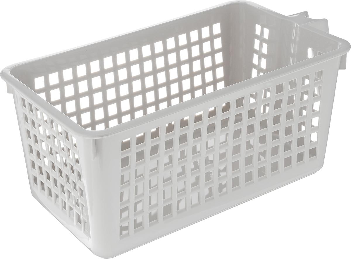 Корзинка универсальная Econova, с ручкой, цвет: серый, 28 х 16 х 12 см847545_серыйУниверсальная корзинка Econova изготовлена из высококачественного пластика и предназначена для хранения и транспортировки вещей. Корзинка подойдет как для пищевых продуктов, так и для ванных принадлежностей и различных мелочей. Изделие оснащено ручкой для более удобной транспортировки. Стенки корзинки оформлены перфорацией, что обеспечивает естественную вентиляцию. Универсальная корзинка Econova позволит вам хранить вещи компактно и с удобством.