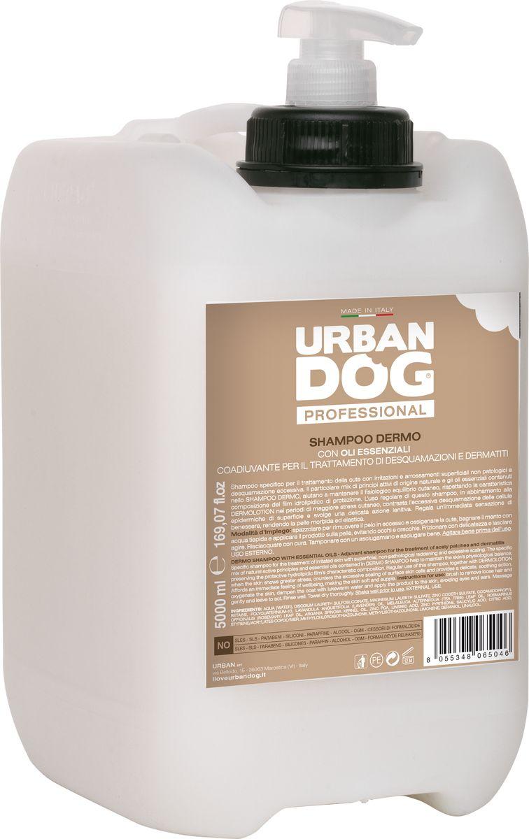 Шампунь для собак Urban Dog, от дерматитов, перхоти и шелушения, 5 лUD204TDEСпециальный шампунь для ухода за кожей с раздражением и непатологическими поверхностными покраснениями, а также излишним шелушением. Особая смесь активных веществ естественного происхождения и эфирных масел в составе DERMO ШАМПУНЯ помогает поддерживать физиологический баланс кожи за счет сохранения характерных свойств защитной гидролипидной пленки. Регулярное использование DERMO ШАМПУНЯ в сочетании с лосьоном DERMOLOTION в периоды наибольшего стресса кожи оказывает противодействие излишнему отшелушиванию поверхностных клеток эпидермиса и оказывает мягкое успокаивающее действие. Дарит мгновенное ощущение хорошего самочувствия, делает кожу мягкой и упругой.
